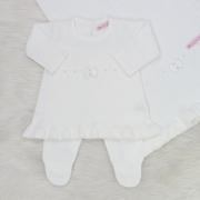 Saída de Maternidade Tricô Vestido Laço Branco