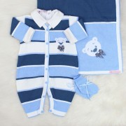 Saída de Maternidade Ursinho Azul e Azul Jeans