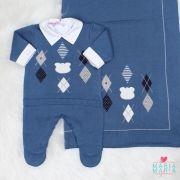 Saída de Maternidade Urso Losango Azul Jeans