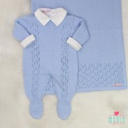 Saída de Maternidade Veneza Azul Pó