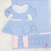 Saída de Maternidade Vestido Aran Azul e Rosa