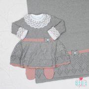 Saída de Maternidade Vestido Aran Cinza e Rosê