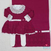 Saída de Maternidade Vestido Aran Marsala e Branco