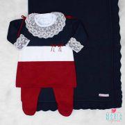 Saída de Maternidade Vestido Aurora Marinho e Bordô