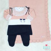 Saída de Maternidade Vestido Aurora Rosê e Marinho