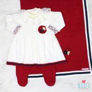 Saída de Maternidade Vestido Broche Off White e Bordô