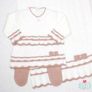 Saída de Maternidade Vestido Chanel Branco e Rosê