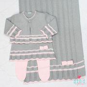 Saída de Maternidade Vestido Chanel Cinza e Rosa