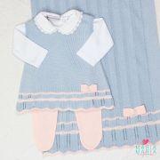 Saída de Maternidade Vestido Chanel Regata Azul Pó e Salmão