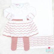 Saída de Maternidade Vestido Clarice Branco e Rosê