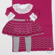 Saída de Maternidade Vestido Clarice Marsala e Cinza