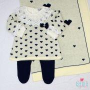Saída de Maternidade Vestido Coração Amarelo e Marinho