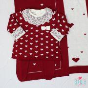 Saída de Maternidade Vestido Coração Bordô