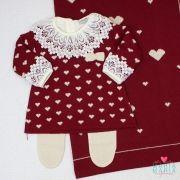 Saída de Maternidade Vestido Coração Bordô e Bege