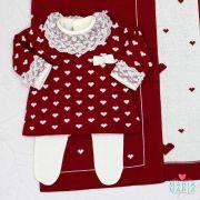 Saída de Maternidade Vestido Coração Bordô e Off White