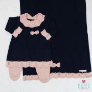 Saída de Maternidade Vestido Gola Marinho e Rosê