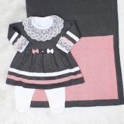 Saída de Maternidade Vestido Lacinho Grafite e Rosê