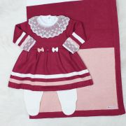 Saída de Maternidade Vestido Lacinho Marsala e Rosê