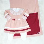 Saída de Maternidade Vestido Lacinho Rosê e Marsala