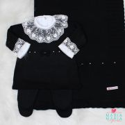 Saída de Maternidade Vestido Laço Preto