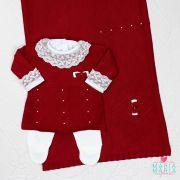 Saída de Maternidade Vestido Losango Bordô e Branco
