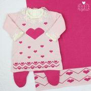 Saída de Maternidade Vestido Love Rosa e Pink