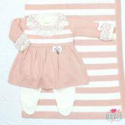 Saída de Maternidade Vestido Pingente Rosê e Off White