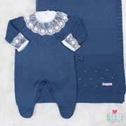 Saída de Maternidade Viena Bordado Azul Jeans