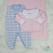Saída de Maternidade Xadrez Rosa e Azul