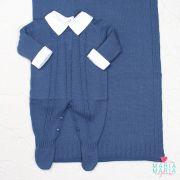 Saída de Maternidade Trançada Azul Jeans