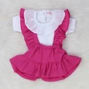 Salopete Babado Pink + Body Branco