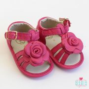 Sandália de Couro Flor Pink