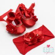 Sapatilha de Cetim + Faixa Meia de Seda Flores Vermelho