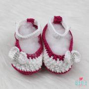 Sapatinho de Crochê Boneca Branco e Pink