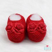 Sapatinho de Tricô 2 Flores Vermelho