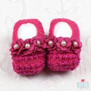 Sapatinho de Tricô 3 Flores Pérola Pink
