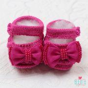 Sapatinho de Tricô Boneca Laço Pink