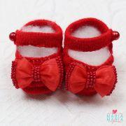Sapatinho de Tricô Boneca Laço Vermelho