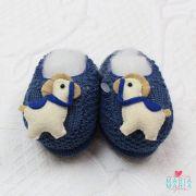 Sapatinho de Tricô Cavalinho Azul Jeans