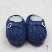 Sapatinho de Tricô Fivela Azul Jeans