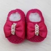 Sapatinho de Tricô Laço Boneca Pink