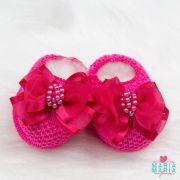 Sapatinho de Tricô Laço Organza Pérola Pink
