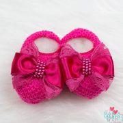 Sapatinho de Tricô Laço Renda Pink