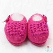 Sapatinho de Tricô Pérolas Lacinho Pink