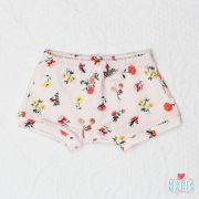 Shorts Suedine Floral Rosa