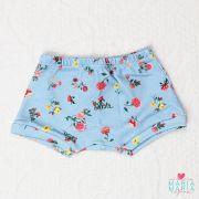 Shorts Suedine Floral Azul