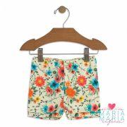 Shorts Suedine Floral Bege