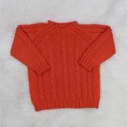 Suéter de Tricô Trança Laranja