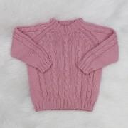 Suéter de Tricô Trança Rosê