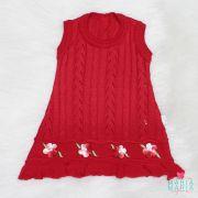 Vestido Flor Crochê Vermelho